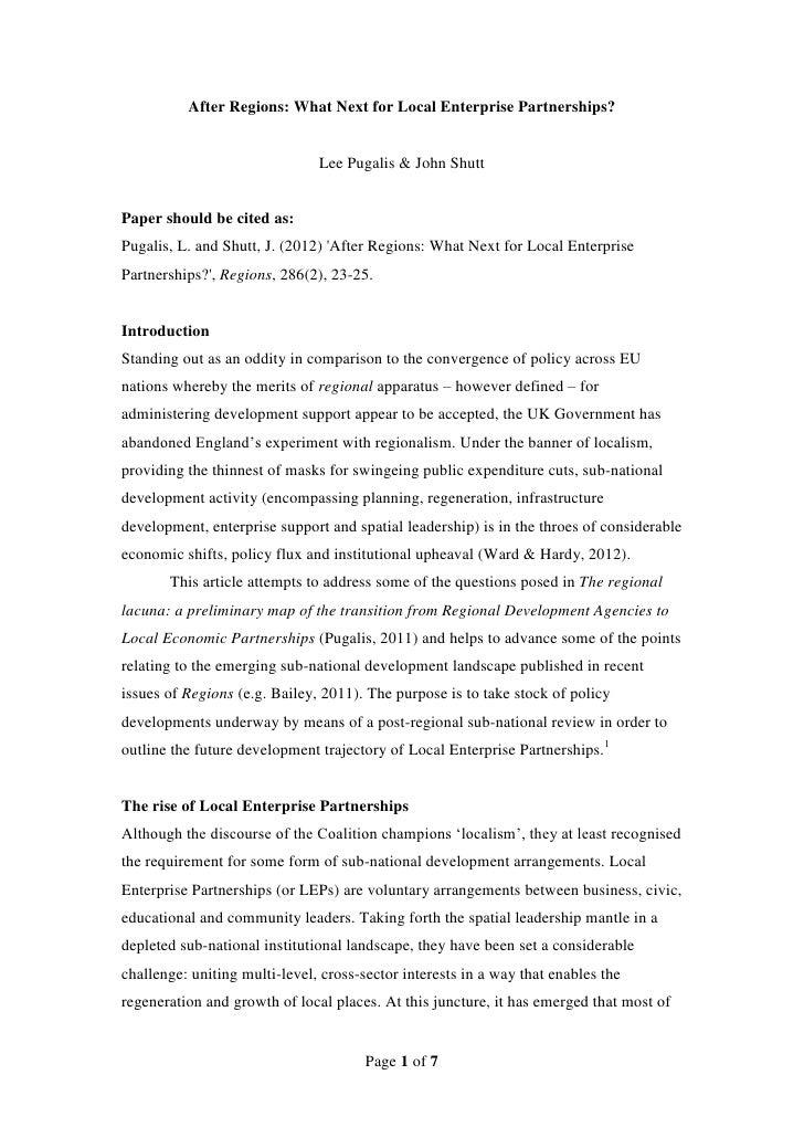 After Regions: What Next for Local Enterprise Partnerships?                               Lee Pugalis & John ShuttPaper sh...