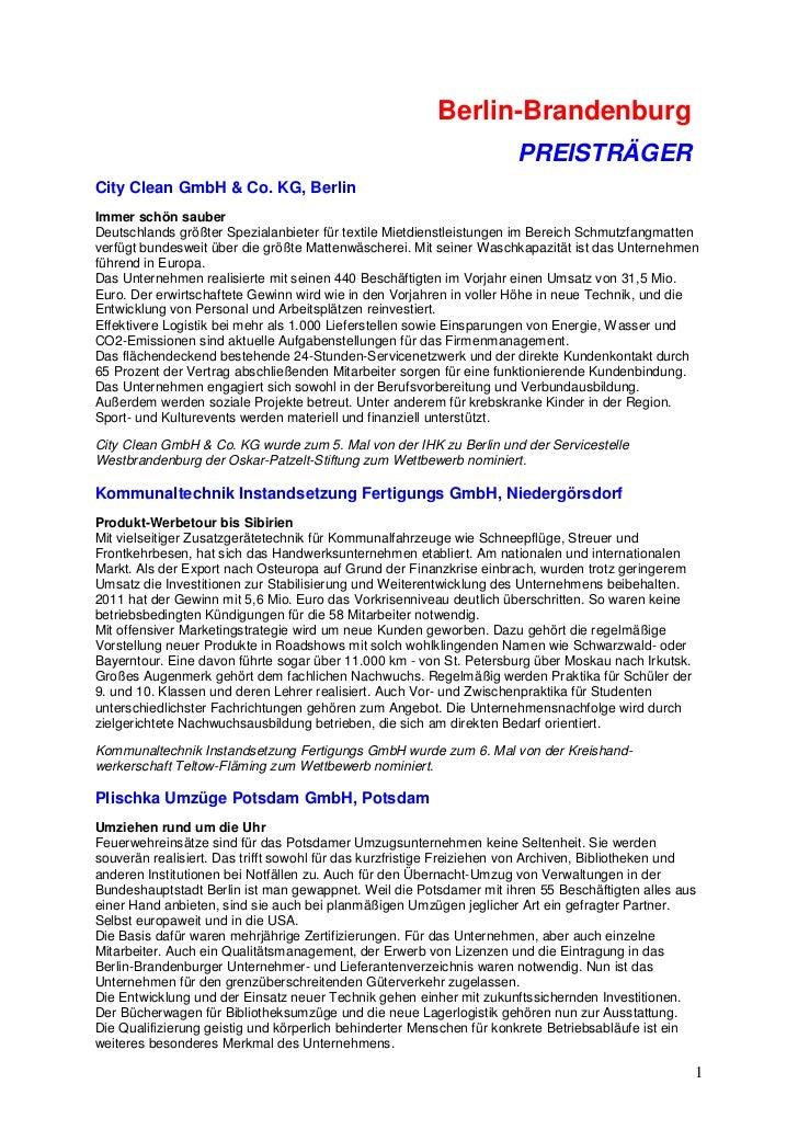 Berlin-Brandenburg                                                                      PREISTRÄGERCity Clean GmbH & Co. K...