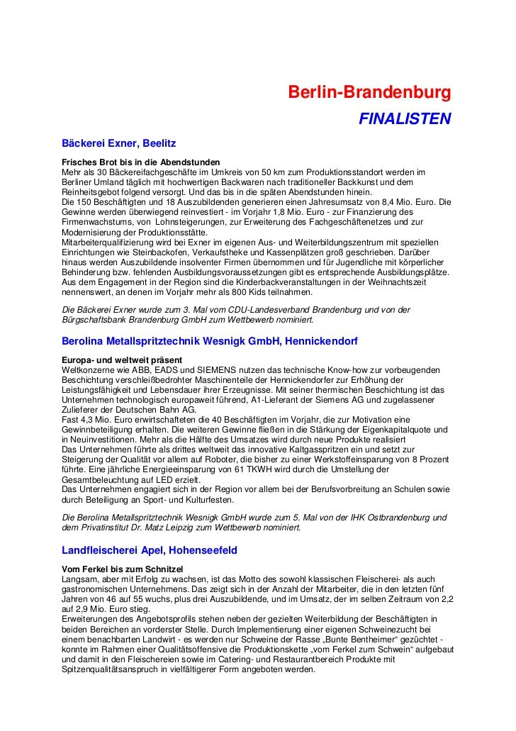 Berlin-Brandenburg                                                                            FINALISTENBäckerei Exner, Be...