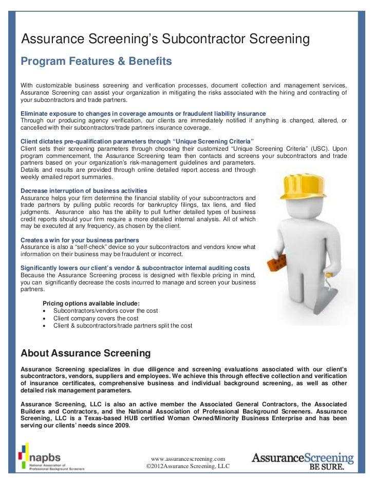 Assurance Screening's Subcontractor ScreeningProgram Features & BenefitsWith customizable business screening and verificat...