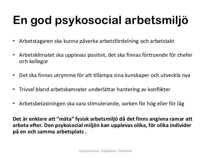 psykosocial arbetsmiljö lag
