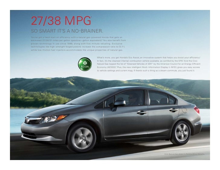 Honda Of Temecula >> 2012 Honda Civic Natural Gas Vehicle Brochure | DCH Honda of Temecula