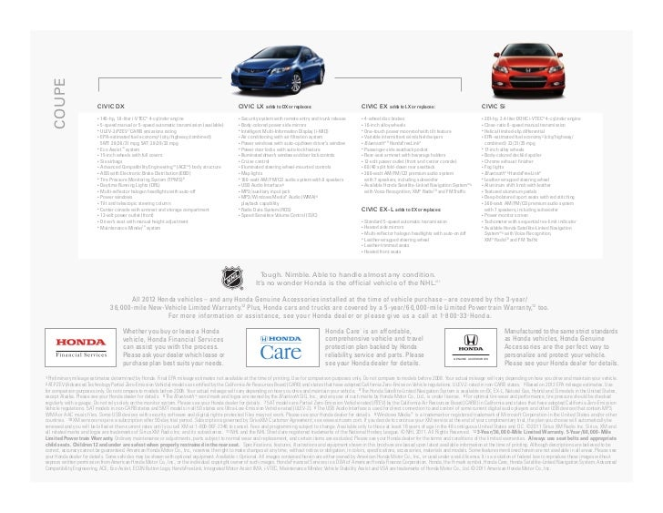 2012 Honda Civic Hybrid Sedan Brochure in Tampa Florida Dealer
