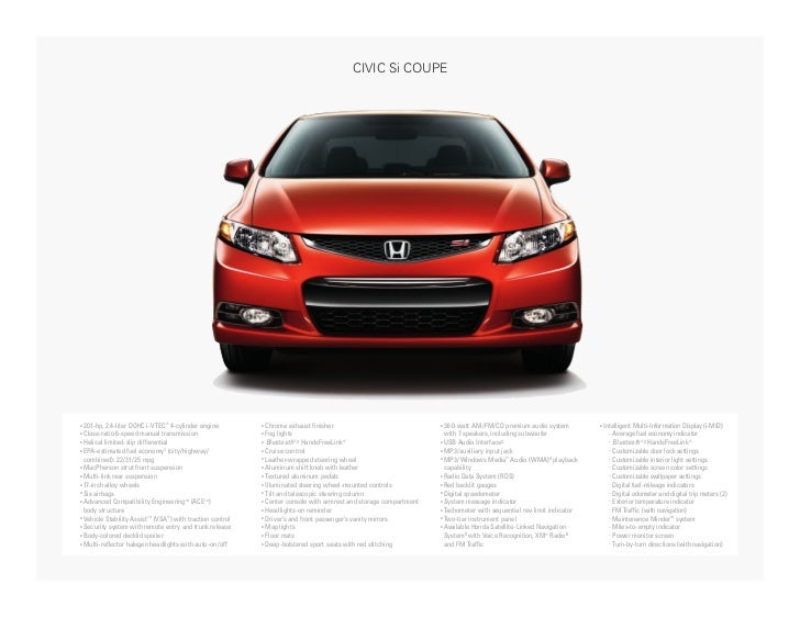 2012 honda civic si coupe factsheet by neil huffman honda. Black Bedroom Furniture Sets. Home Design Ideas