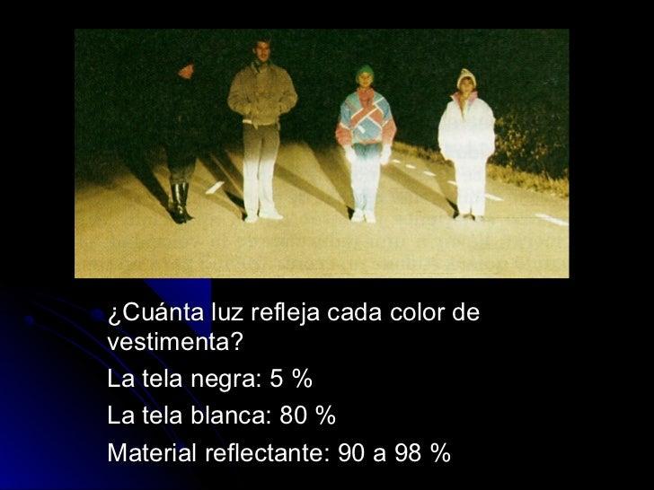 ¿Cuánta luz refleja cada color devestimenta?La tela negra: 5 %La tela blanca: 80 %Material reflectante: 90 a 98 %