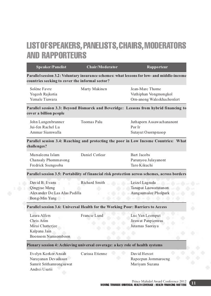 LIST OF SPEAKERS, PANELISTS, CHAIRS, MODERATORSAND RAPPORTEURS     Speaker/Panelist           Chair/Moderator             ...