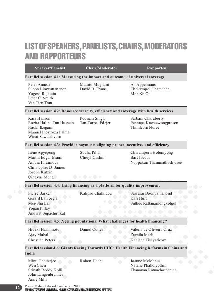 Prince Mahidol Award Conference 201214   MOVING TOWARDS UNIVERSAL HEALTH COVERAGE : HEALTH FINANCING MATTERS