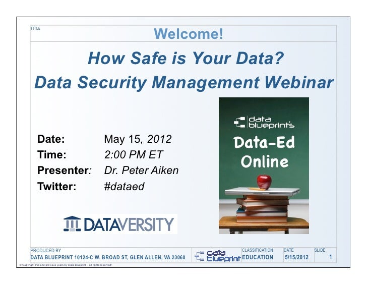 Welcome!         TITLE                 How Safe is Your Data?           Data Security Management Webinar              Date...