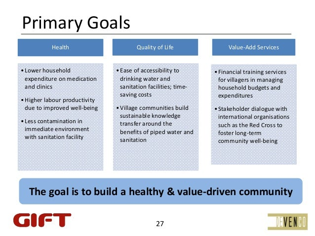 PrimaryGoals           Health                      QualityofLife               Value‐AddServices• Lowerhousehold   ...