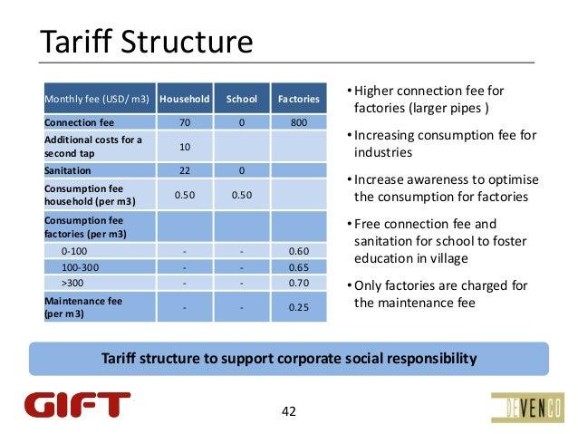 TariffStructureMonthlyfee(USD/m3) Household   School   Factories                                                      ...