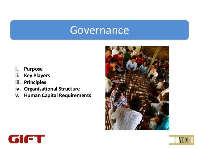 Governancei.     Purposeii.    KeyPlayersiii.   Principlesiv.    OrganisationalStructurev.     HumanCapitalRequirements