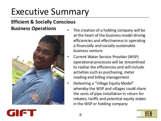 ExecutiveSummaryEfficient&SociallyConsciousBusinessOperations        • Thecreationofaholdingcompanywillbe   ...