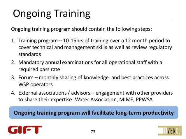 OngoingTrainingOngoingtrainingprogramshouldcontainthefollowingsteps:1. Trainingprogram– 10‐15hrsoftrainingove...