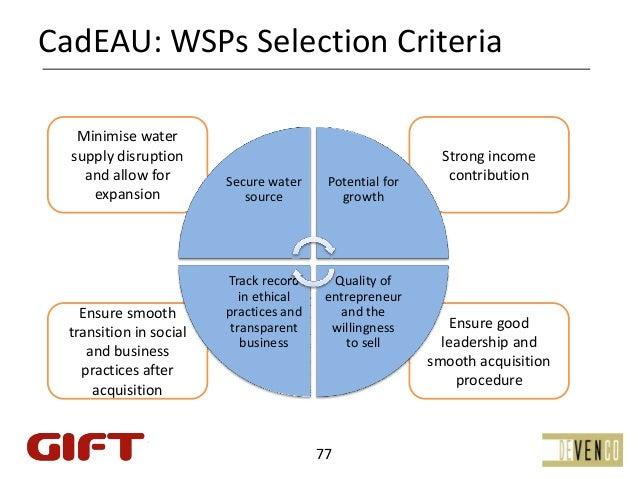 CadEAU:WSPsSelectionCriteria   Minimise water  supplydisruption                                           Stronginc...
