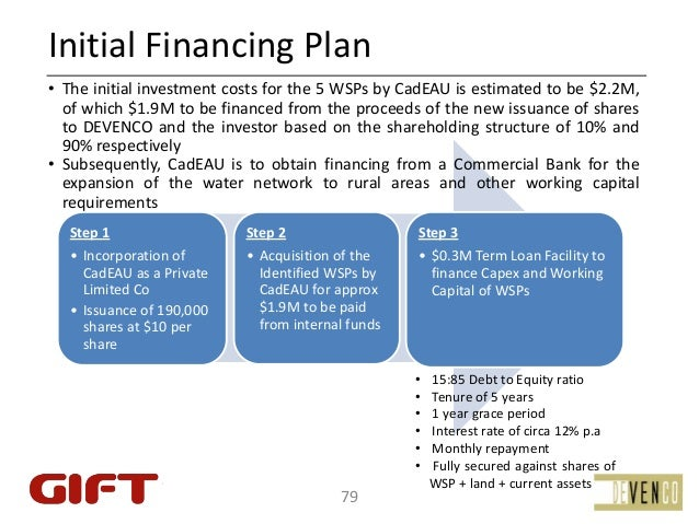 InitialFinancingPlan• The initial investment costs for the 5 WSPs by CadEAU is estimated to be $2.2M,  of which $1.9M to...