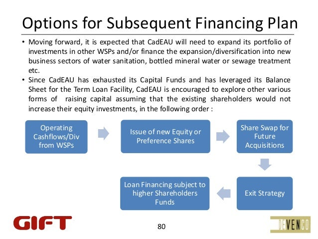 OptionsforSubsequentFinancingPlan• Moving forward, it is expected that CadEAU will need to expand its portfolio of  in...