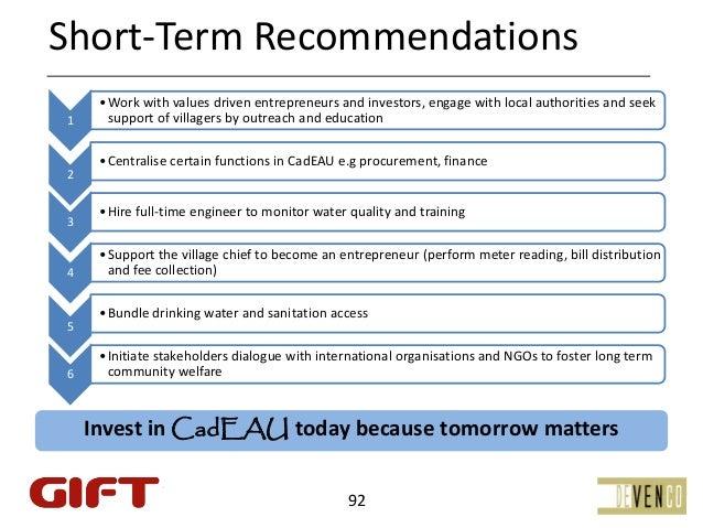 Short‐TermRecommendations     • Workwithvaluesdrivenentrepreneursandinvestors,engagewithlocalauthoritiesand...