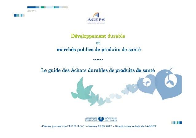 AGEPS                        Développement durable                                   et                   marché          ...