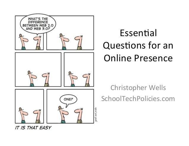 Essen%al Ques%ons for an  Online Presence    Christopher Wells SchoolTechPolicies.com