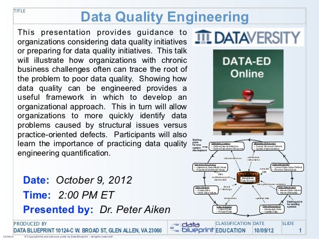 Data Quality Engineering           TITLE            This presentation provides guidance to            organizations consid...
