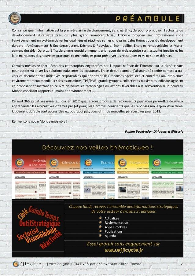 P R É A M B U L EConvaincu que l'information est la première arme du changement, j'ai créé Efficycle pour promouvoir l'act...