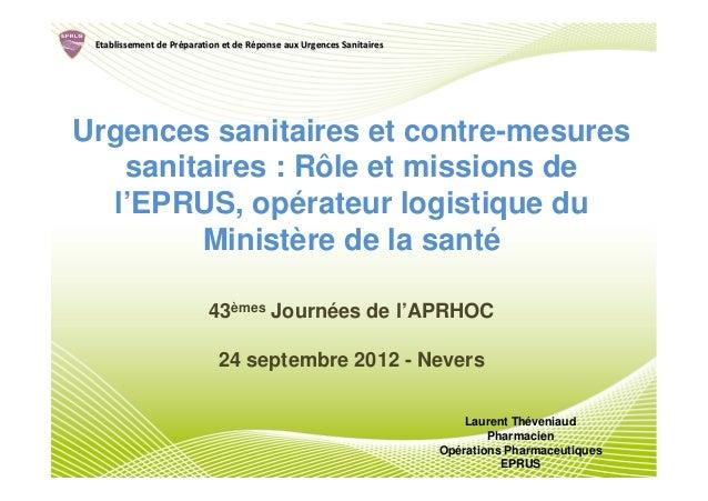 Etablissement de Préparation et de Réponse aux Urgences Sanitaires                  Pré               RéUrgences sanitaire...