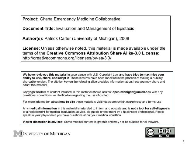 Project: Ghana Emergency Medicine Collaborative Document Title: Evaluation and Management of Epistaxis Author(s): Patrick ...
