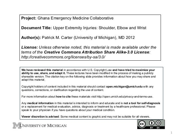 Project: Ghana Emergency Medicine Collaborative Document Title: Upper Extremity Injuries: Shoulder, Elbow and Wrist Author...