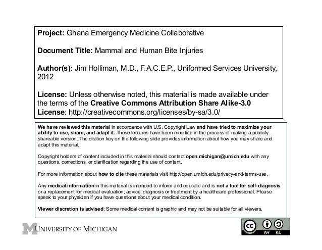Project: Ghana Emergency Medicine Collaborative Document Title: Mammal and Human Bite Injuries Author(s): Jim Holliman, M....