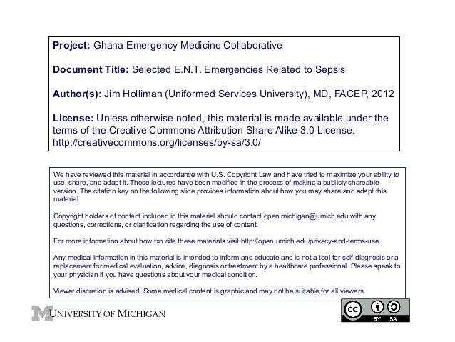 Project: Ghana Emergency Medicine Collaborative Document Title: Selected E.N.T. Emergencies Related to Sepsis Author(s): J...