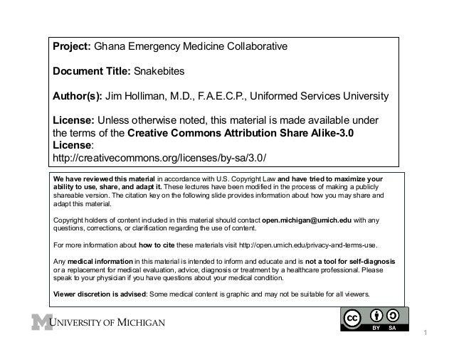 Project: Ghana Emergency Medicine Collaborative Document Title: Snakebites Author(s): Jim Holliman, M.D., F.A.E.C.P., Unif...