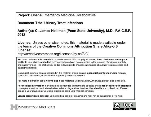 Project: Ghana Emergency Medicine Collaborative Document Title: Urinary Tract Infections Author(s): C. James Holliman (Pen...