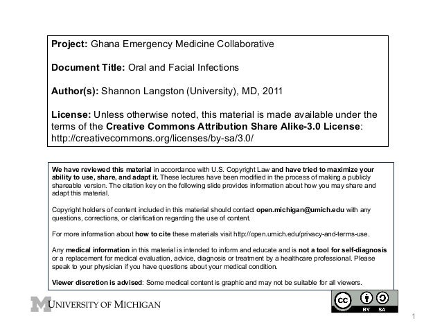 Project: Ghana Emergency Medicine Collaborative Document Title: Oral and Facial Infections Author(s): Shannon Langston (Un...