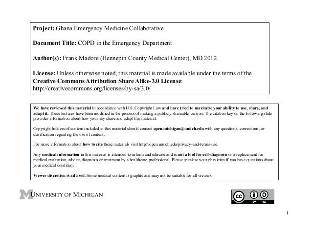 Project: Ghana Emergency Medicine Collaborative Document Title: COPD in the Emergency Department Author(s): Frank Madore (...