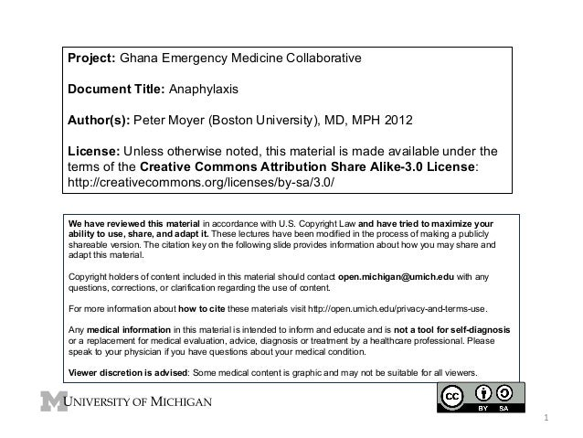 Project: Ghana Emergency Medicine Collaborative Document Title: Anaphylaxis Author(s): Peter Moyer (Boston University), MD...