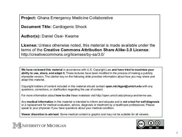Project: Ghana Emergency Medicine Collaborative Document Title: Cardiogenic Shock Author(s): Daniel Osei- Kwame License: U...