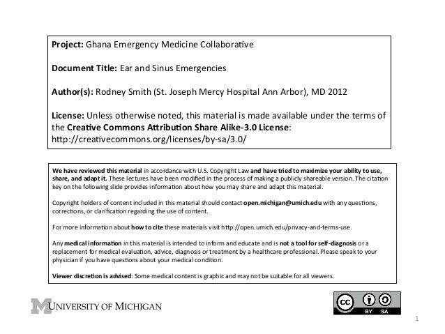 Project:  Ghana  Emergency  Medicine  Collabora4ve      Document  Title:  Ear  and  Sinus  Emergenci...