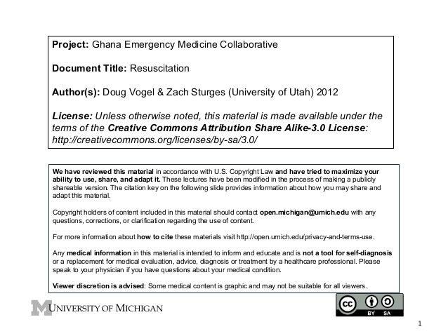 Project: Ghana Emergency Medicine Collaborative Document Title: Resuscitation Author(s): Doug Vogel & Zach Sturges (Univer...