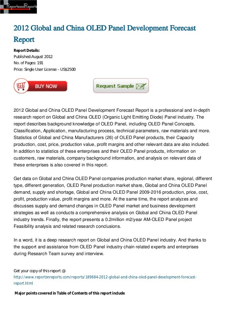 2012 Global and China OLED Panel Development ForecastReportReport Details:Published:August 2012No. of Pages: 191Price: Sin...