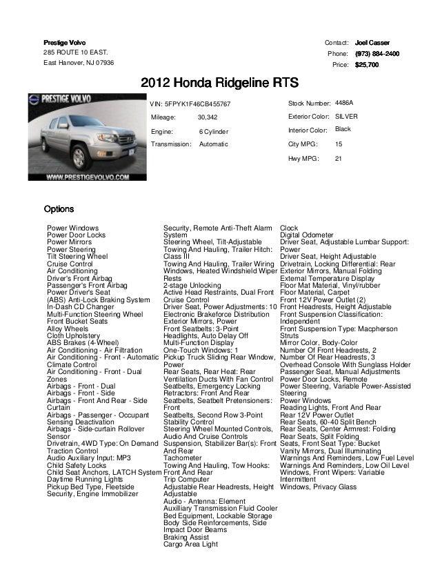 2012 Honda Ridgeline RTS for sale at Prestige Volvo East