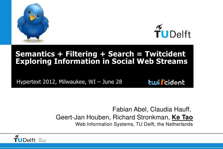 Semantics + Filtering + Search = TwitcidentExploring Information in Social Web StreamsHypertext 2012, Milwaukee, WI – June...