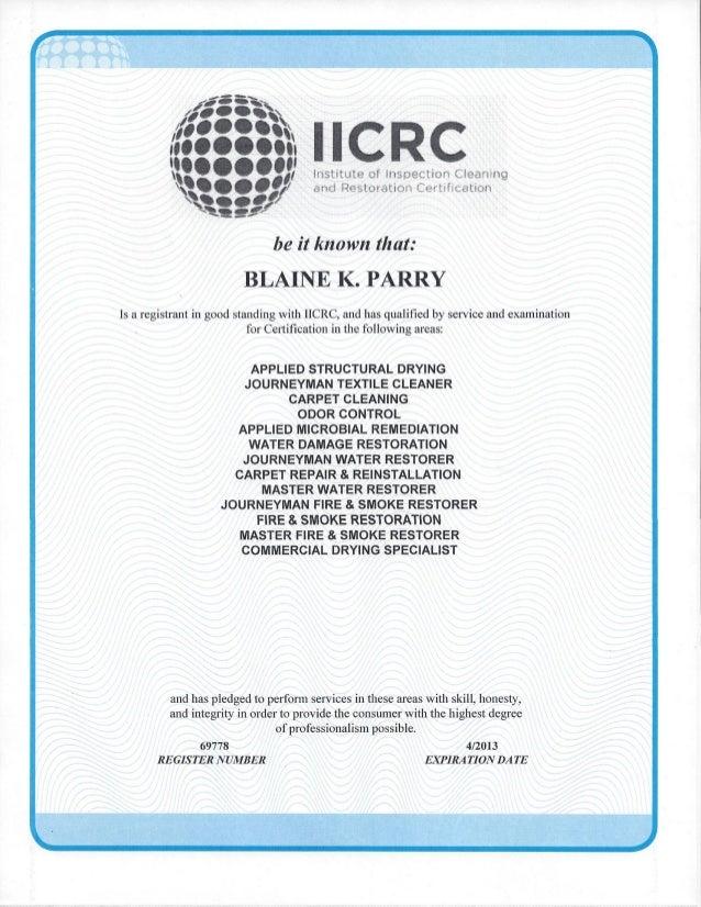 2012 Iicrc Certification