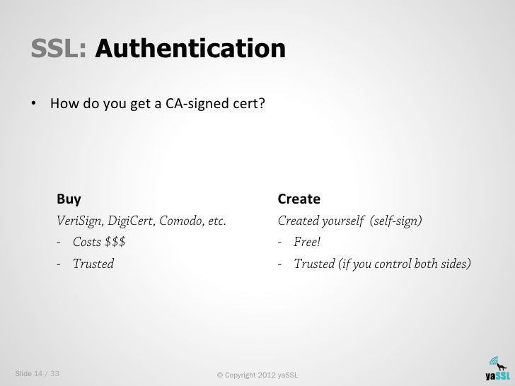SSL: Authentication    • How do you get a CA-‐signed cert?             Buy                              ...