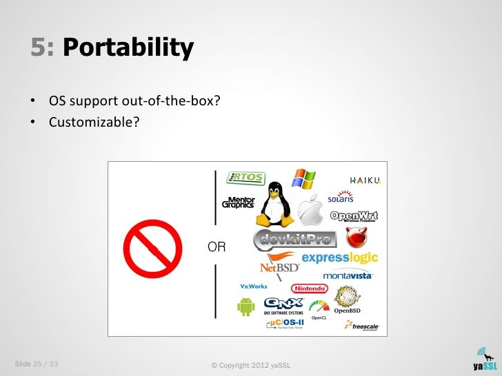 5: Portability    • OS support out-‐of-‐the-‐box?     • Customizable? Slide 25 / 33                          ...