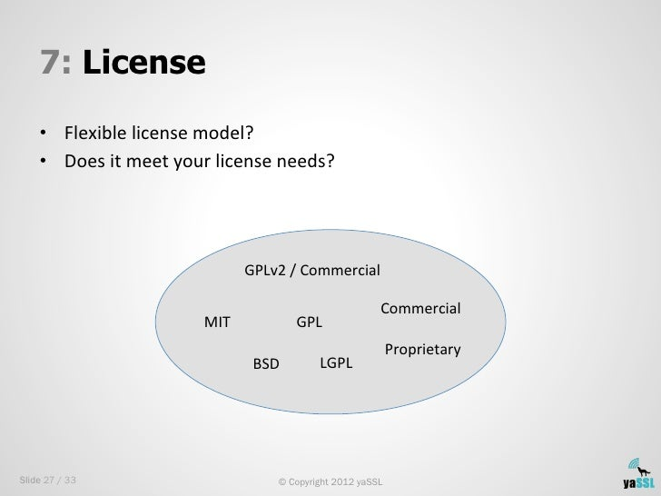 7: License    • Flexible license model?     • Does it meet your license needs?                        ...