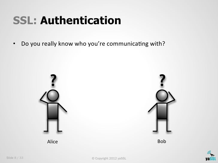 SSL: Authentication    • Do you really know who you're communicaSng with?                       ?        ...