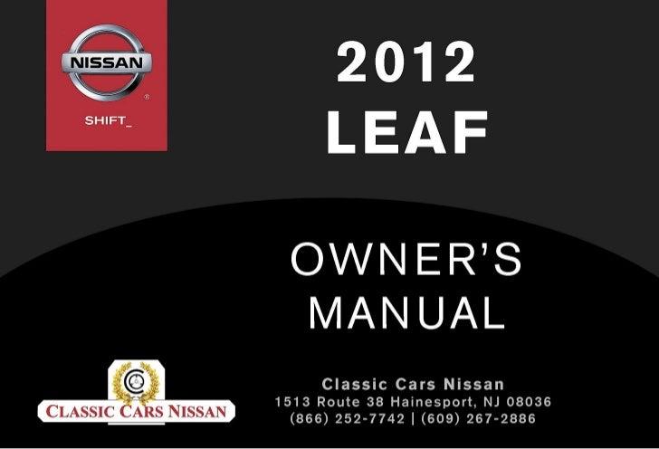 2012 leaf owner s manual rh slideshare net nissan leaf manual 2015 nissan leaf manual 2012