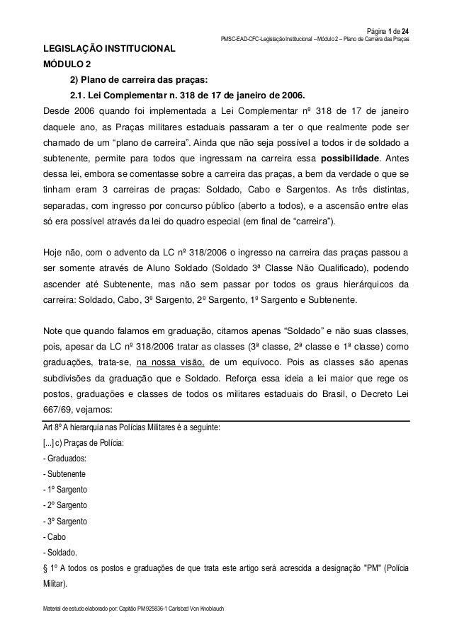 Página 1 de 24 PMSC-EAD-CFC-Legislação Institucional – Módulo 2 – Plano de Carreira das Praças Material de estudo elaborad...