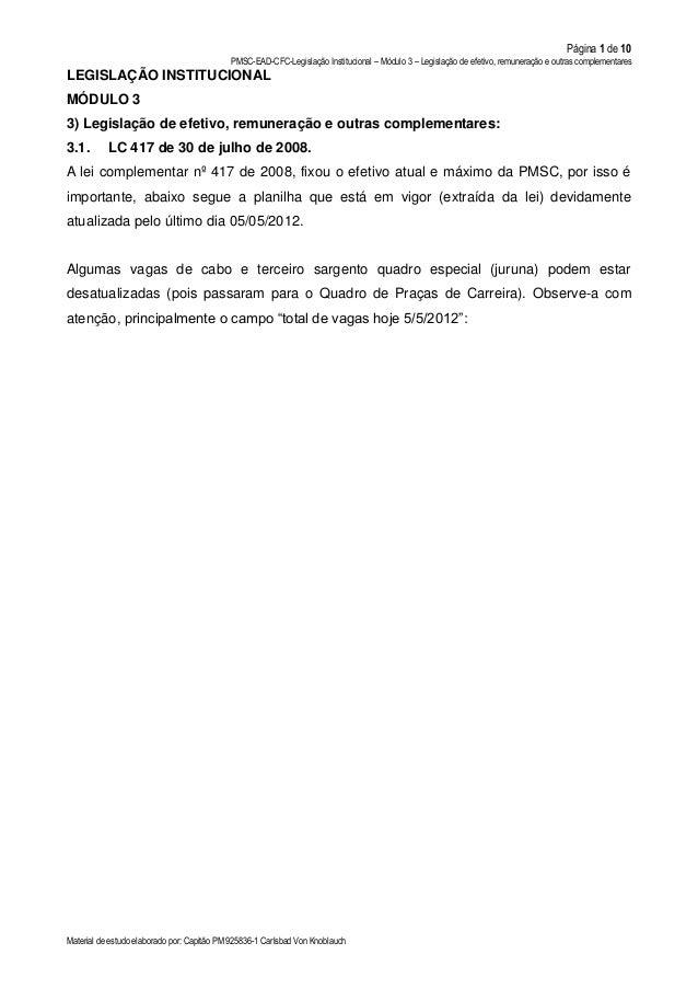 Página 1 de 10 PMSC-EAD-CFC-Legislação Institucional – Módulo 3 – Legislação de efetivo, remuneração e outras complementar...