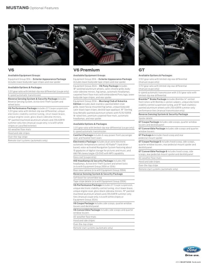 2012 Ford Mustang Brochure